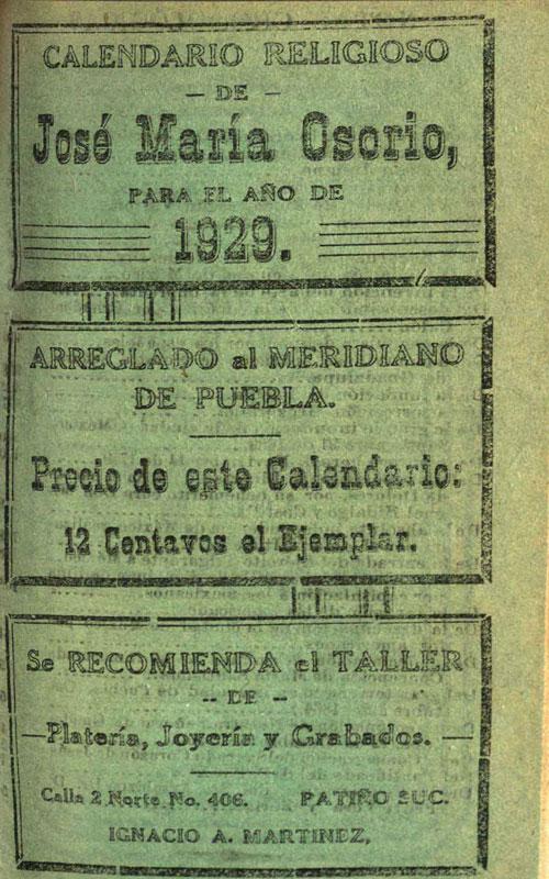 Calendario 1929.Calendarios